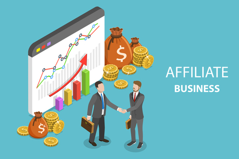 "Cartoon of two business people shaking hands with the text, ""Affiliate Business"" on the side"