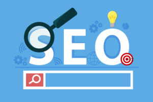 A cartoon image of SEO and a search bar