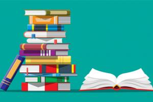 Vector image of a stack of books