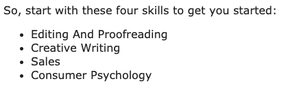 An example of bullet points from a blog post