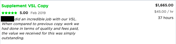 A review on Upwork showing that the copywriter charged $45/hour for the project and earned $1,665