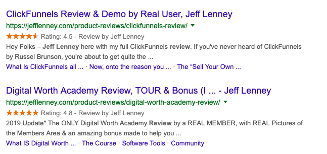Examples of Jeff Lenney reviews in the Google search results