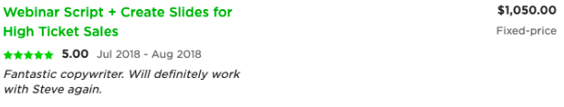 A review on Upwork for a copywriter who wrote a webinar script for $1,050