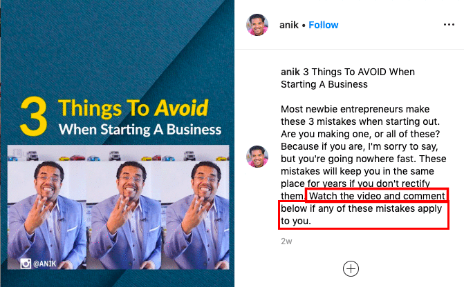 a call-to-action in Anik Singal's Instagram post telling people to watch and comment