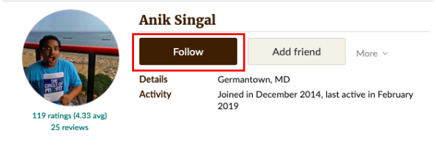 Anik Singal's profile on Goodreads
