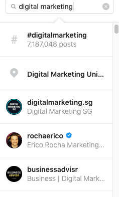 Example of finding related Instagram accounts to do market research
