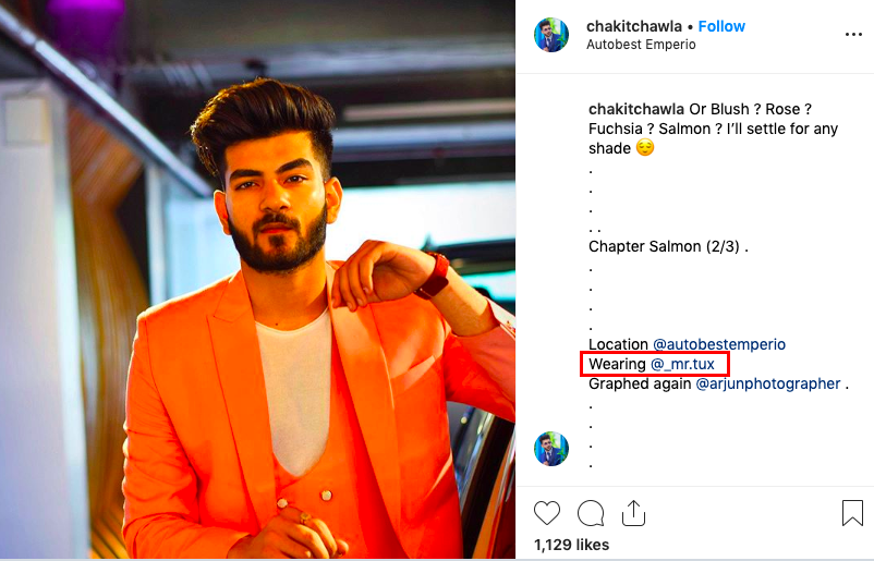 Example of an influencer promoting a suit and designer he's wearing