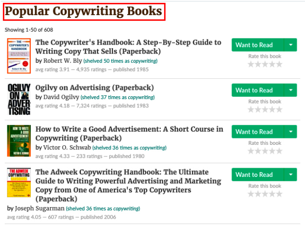 A list of popular copywriting books on Goodreads