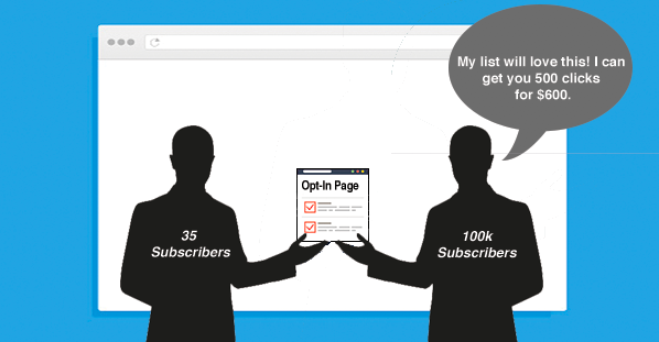 Show how a solo ad works - a person with 35 subscribers handing their opt-in page to a person with 100,000 subscribers