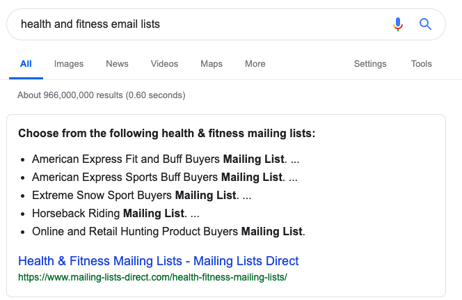Showing how to do a google search to find email lists in the health and fitness niche