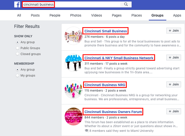 An image showing how to find business groups to join on Facebook