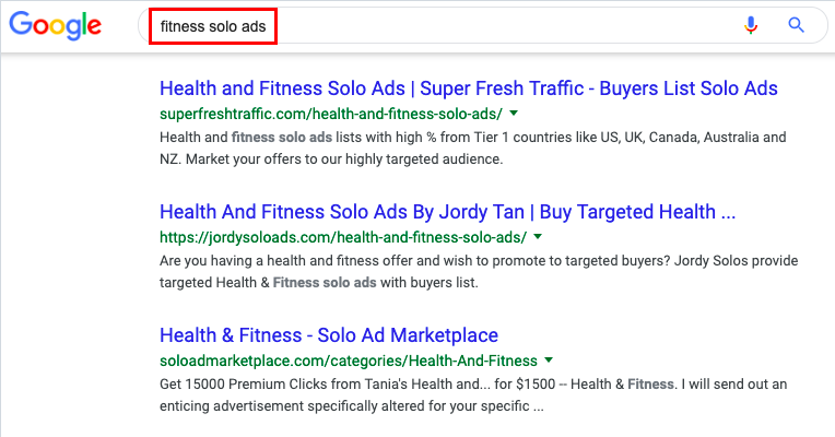 Google search 'fitness solo ads'