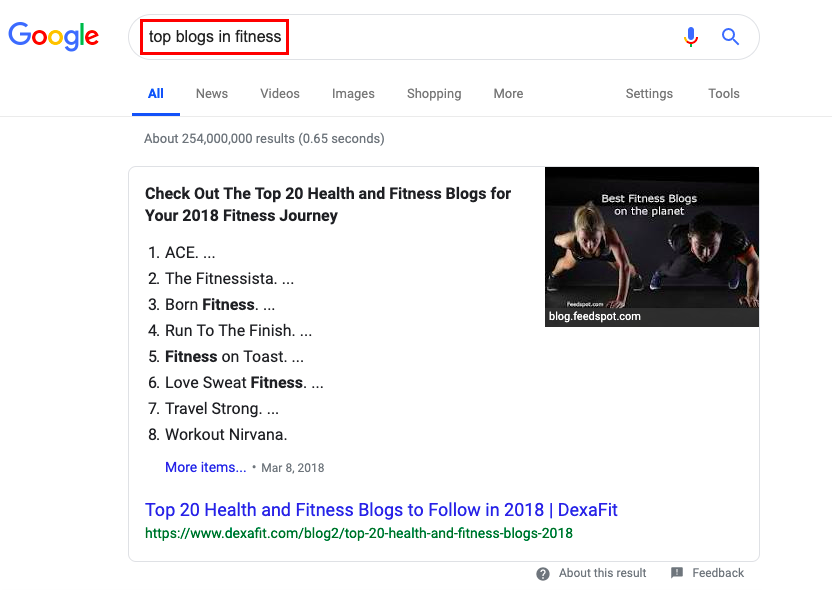 Google search 'top blogs in fitness'