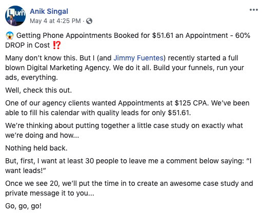 A Facebook post from Anik Singal offering a case study - a strategy he learned from Mike Buontempo