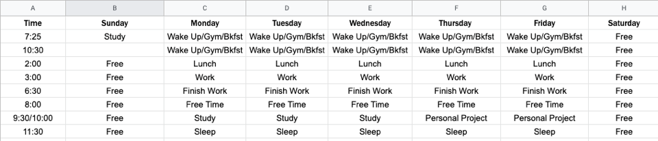 Example of a Sunday-Saturday learning schedule created in Excel