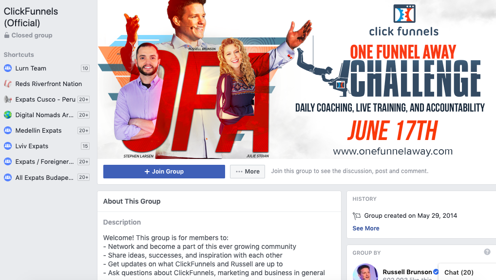 Screenshot of the ClickFunnels Facebook page