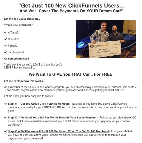 Description of the dream car program from ClickFunnels