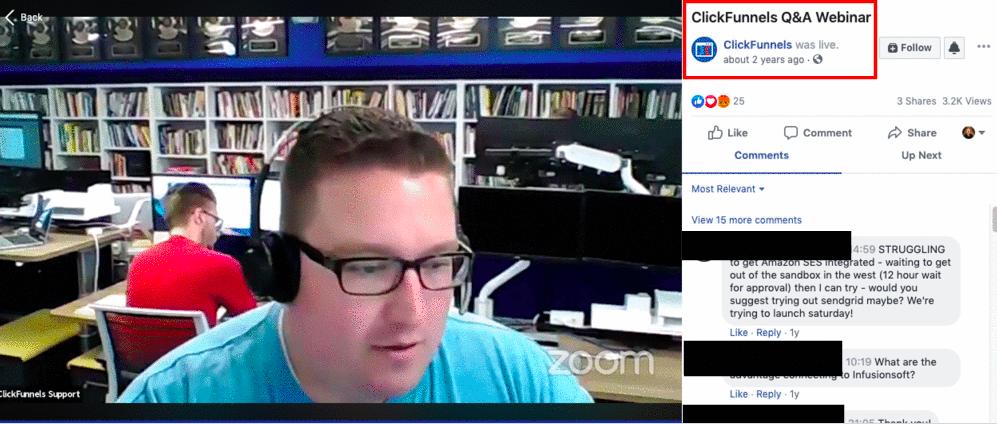 Screenshot of a ClickFunnels Q&A on Facebook Live