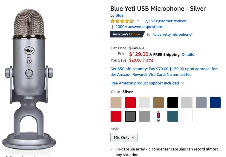 Screenshot of the Blue Yeti microphone on Amazon