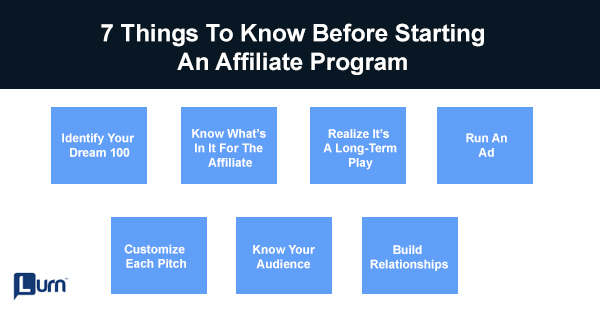 Inforgraphic showing 7 tips for how to build an affiliate network