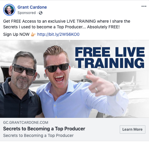 Example of copywriting in a Grant Cardone Facebook ad