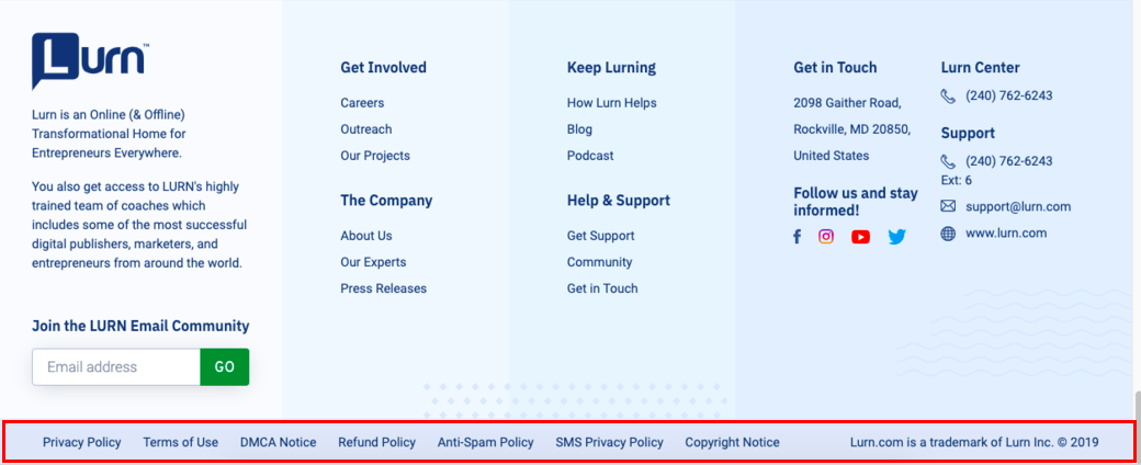 Screenshot of the Lurn Terms of Use and privacy policy sections at the bottom of the website