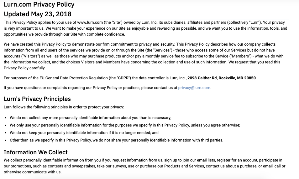 Screenshot of part of Lurn's privacy policy