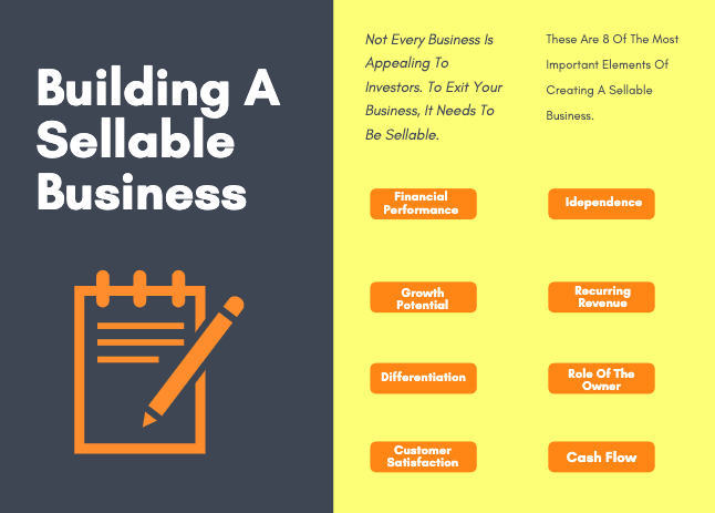 Infographic of 8 things to consider to build a sellable business: financial performance, growth potential, differentiation, customer satisfaction, independence, recurring revenue, role of the owner, cash flow