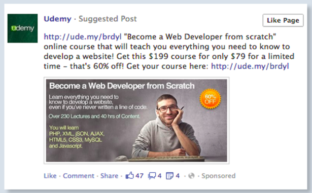 Example of a Facebook ad with poor visual flow