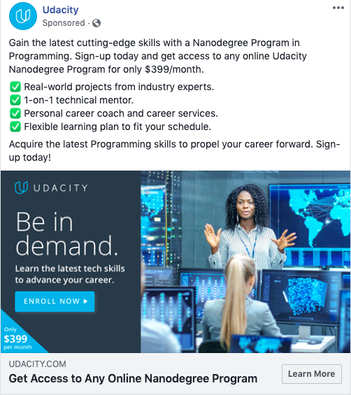 A Facebook ad from Udacity that sells the features of their product