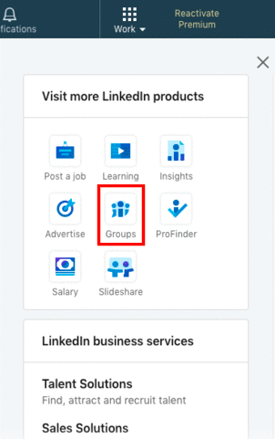 Where to find the 'Groups' button on LinkedIn