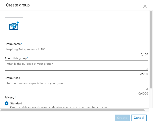 The information page for creating a group on LinkedIn