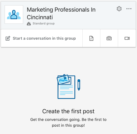 What the group page looks like after making a group on LinkedIn