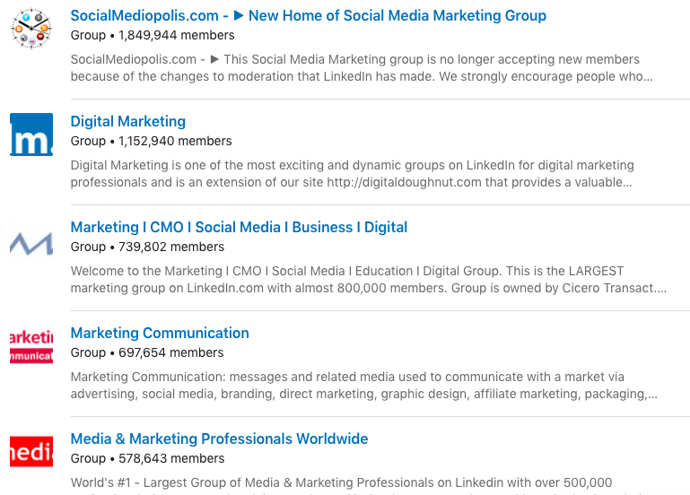Examples of LinkedIn groups with professional names