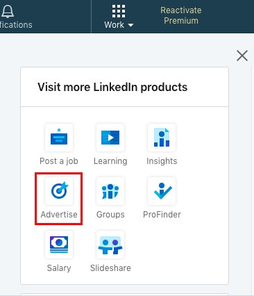 Where to find the 'advertising' button on LinkedIn