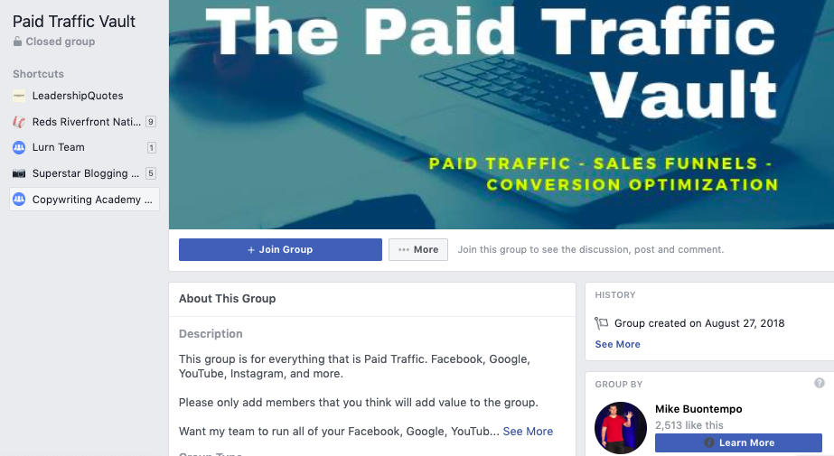 Image of The Paid Traffic Vault, Mike Buontempo's Facebook group