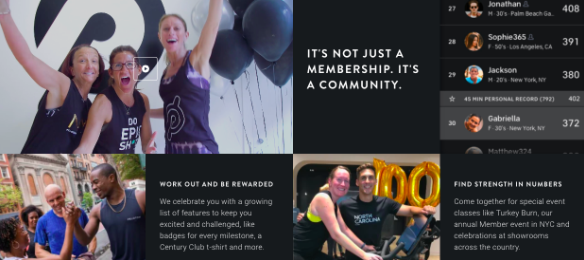 Example of copywriting from Peloton