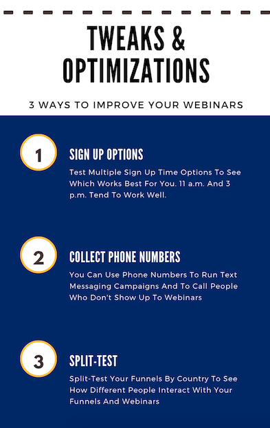 Infographic of three tweaks and optimizations to improve your webinar marketing