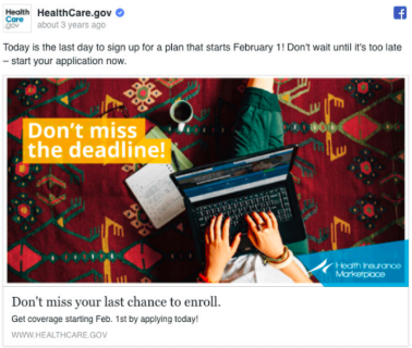 Example of copywriting from Healthcare.gov