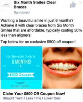 Example of copywriting from Six Month Smiles