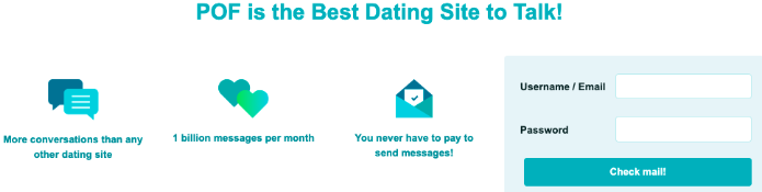 Example of copywriting from Plenty of Fish