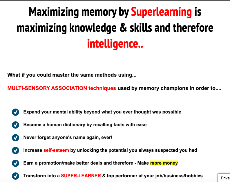Example of copywriting from Memory Professor