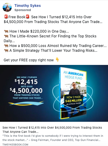 Example of copywriting from Timothy Sykes