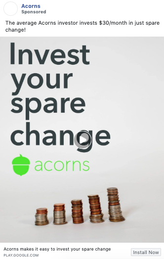 Example of copywriting from Acorns