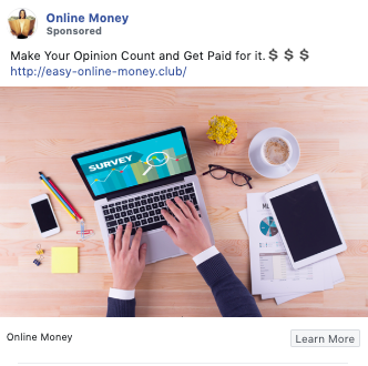 Example of copywriting from Online Money