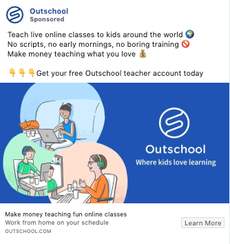 Example of copywriting from Outschool
