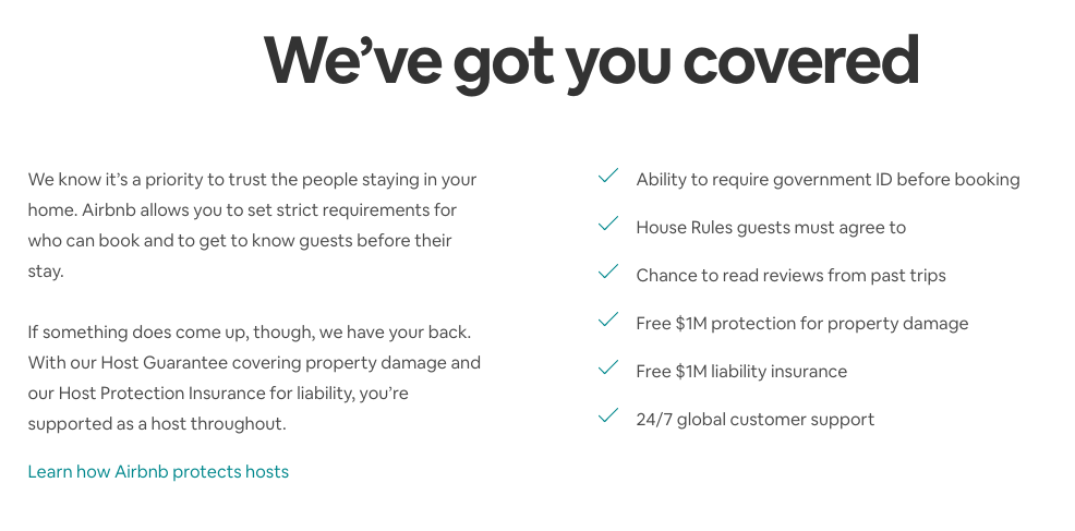 Example of copywriting from Airbnb