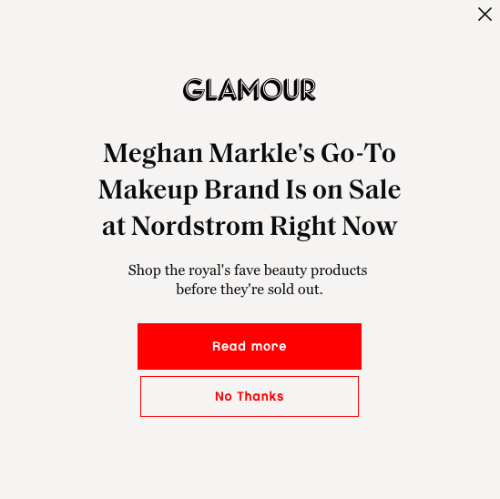 Example of copywriting from Glamour