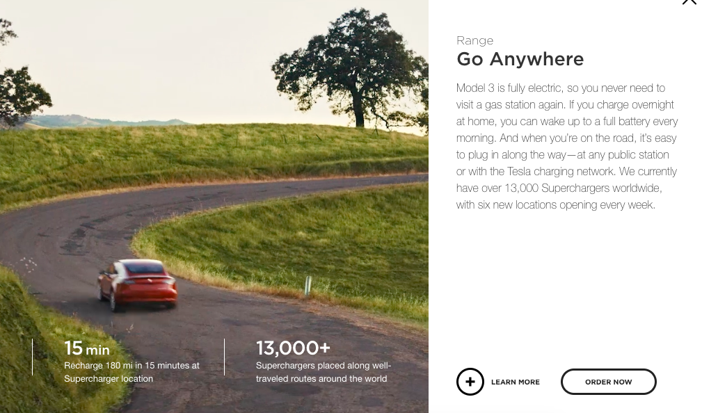 Example of copywriting from Tesla