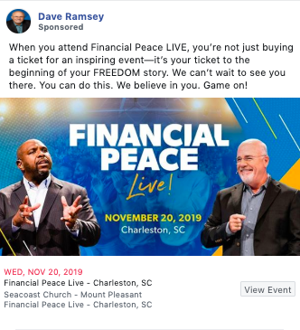 Example of copywriting from Dave Ramsey